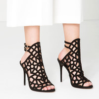 OPENWORK LEATHER SANDALS - New in-SHOES-WOMAN | ZARA United Kingdom