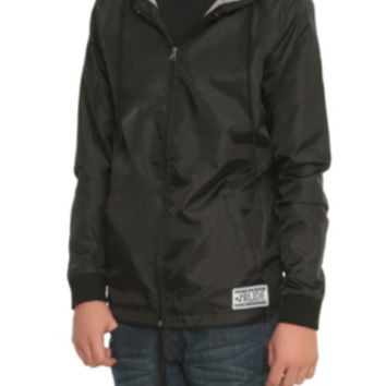 RUDE Black Hooded Windbreaker