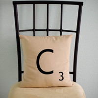 Personalized Initial SCRABBLE LETTER pillow cases cushion covers -- choose any letter