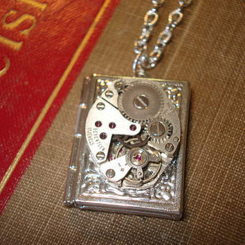Steampunk Locket Necklace Steampunk Jewelry Silver Story Book Locket   Vintage Swiss Watch Movement - Lost in Time
