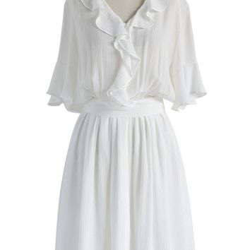 Frill the Day Crepe Dress in White