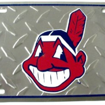 "Baseball Cleveland Indians Diamond Cut 6"" x 12"" Embossed Aluminum License Plate"