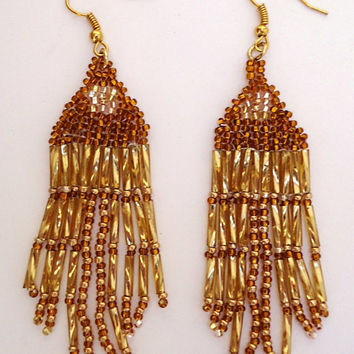 Dangling Chandelier Style Earrings in Shades of Gold with Seed and Bugle Beads, Indian Style. Surgical steel wires. Handmade