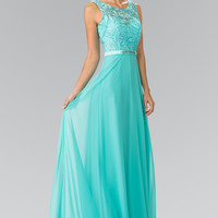 Elizabeth K Embroidery Top Chiffon Long Dress Accented with Beaded Waist GL 2364