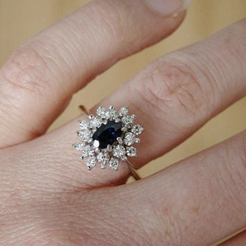 Antique White Gold Diamond Halo and from PenelliBelle on Etsy