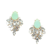 Mint Crystal Statement Earrings