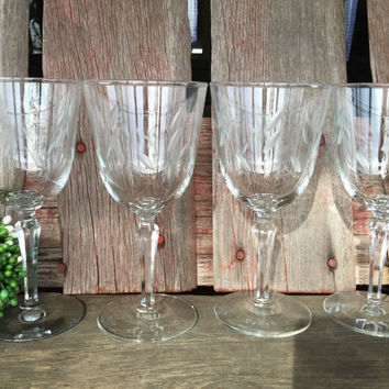 4 Mid century etched crystal water goblets, wedding toasting glasses w/ prism stems, Mid century bar cart wine glasses, vintage glassware
