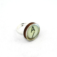 Ivory Typewriter Key Vintage Image Ring by LaurasJewellery on Etsy