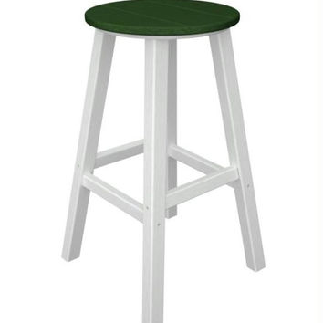 2 Bar Stools - Forest Green Seat And White Legs