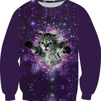 Galaxy Cat All Over Print Sweat Shirts - Ladies Crew Neck Novelty Pullover