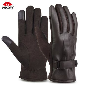 Vbiger  Men Winter Warp-knitted Outdoor Hiking Shiing Gloves Mittens PU Leather Cycling Gloves Warm Touch Screen Gloves