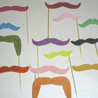 12 Curly Hansome Rainbow Mustache Cupcake by DDCupcakeAccessories
