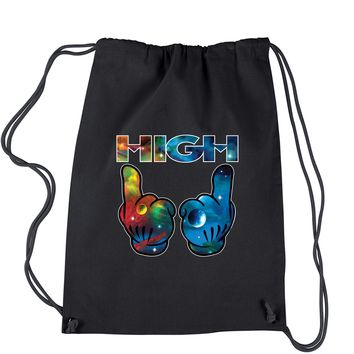 High Galaxy Print Drawstring Backpack