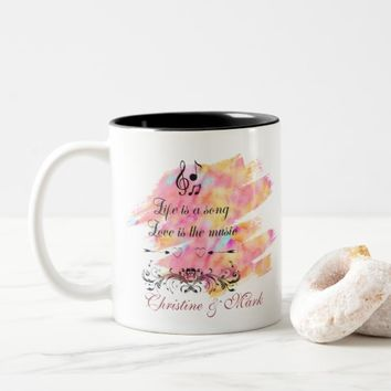 Life is a song Love is the music Typography Two-Tone Coffee Mug