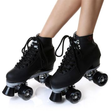 JAPY Roller Skates Geniune Leather Double Line Skate Pink Men Women Adult Pink PU 4 Wheels Two Line Skating Shoes Patines C003