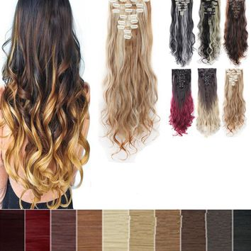 Halloween Hot Sale Womens Girls 8Pcs Clip In Hair Extensions Long Curly Wavy Full Head Color Mixing Cosplay Hair Extentions