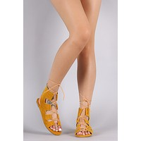 Suede Open Toe Lace-Up Gladiator Flat Sandal