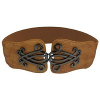 uxcell® Lady Faux Leather Floral Interlock Buckle Elastic Waist Belt Brown