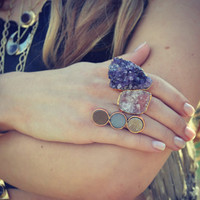 Size 7 LUX Divine Amethyst Stackable Gemstone Gold Ring