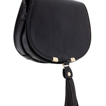 Faux Leather Tassel Crossbody