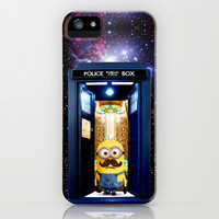 Despicable me minion with mustache Tardis Doctor Who iPhone & iPod Case by pointsalestore