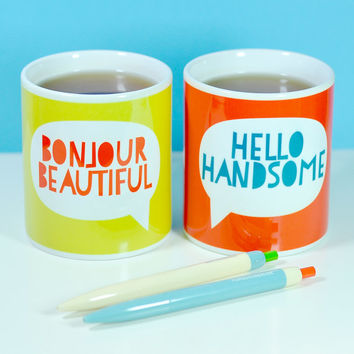 Say Hello Mugs perfect for Valentines Day, anniversaries and birthdays. Love, friendship, positive words, quirky