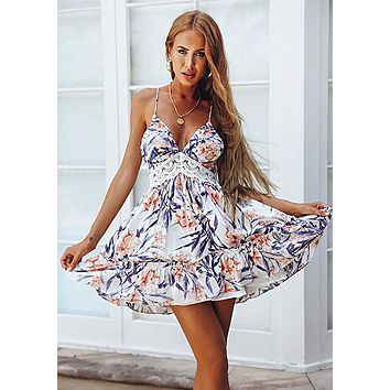 Summer Fashion Women Sexy Stylish Floral Print Backless V Collar Dress Blue