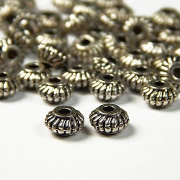 40 Pcs - 6x4mm Corrugated Tibetan Silver Spacer Beads - Rondelle Beads - Spacers - Metal Spacer Beads - Jewelry Supplies