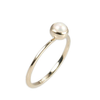 Delicate Pearl Engagement gold Ring - In a Dainty Design - 14k Solid Gold.