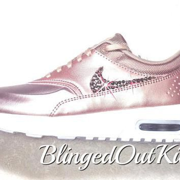 Bling Nike Air Max Thea Limited Edition in Metallic Rose Gold with hand placed Swarovs