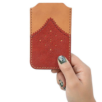 Red, Tan Leather iPhone Sleeve, Retro iPhone Cover, Red Leather Phone Sleeve