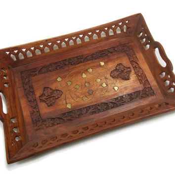Vintage Wood and Brass Inlay Tray - Hand Carved Wooden Floral Tray with Handles Platter - Flowers & Brass Metal Leaves 12.5 x 8.5 inch Tray