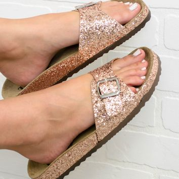 Rose Gold Glitter Sandal