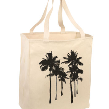 Palm Rows Silhouette Large Grocery Tote Bag-Natural