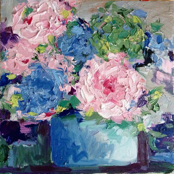 Hydrangeas - Original Oil Painting - Impasto - Wet Paint - 10 x 10 - Artwork