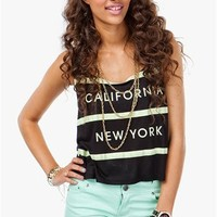 A'GACI Stripe California New York Lightweight Tank - New Arrivals