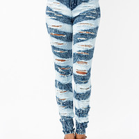 Stripe-It-Rich-Distressed-Jeans BLUE - GoJane.com