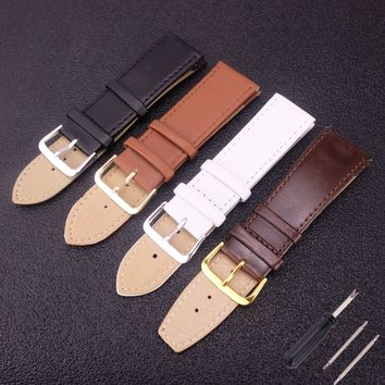 Genuine Leather Watchband Women's Watch Band with tool 2/14/16/18/20/22mm Men's Genuine Leather Straps Belt Pin Buckle