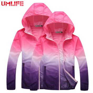 UMLIFE Women Jacket Thin Outdoor Sportswear Men Hooded Windbreaker Coat Sun-Protective Outwear Hunting Clothes Men Hooded Jacket