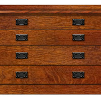 Arts & Crafts Mission 4 Drawer Dresser Optional Stealth Hidden Drawer