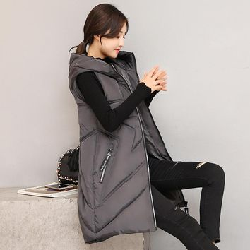 KUYOMENS New Women Winter Vest Women's Long Vest Jacket Sleeveless Hooded Down Cotton Slim Waistcoat Warm Chaleco Mujer