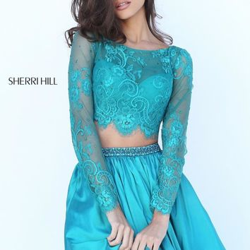 Two Piece Lace Sherri Hill Short Dress 50556