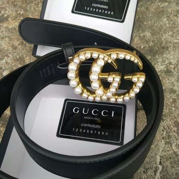 GUCCI Classic Fashion Women Men Chic Pearl Smooth Buckle Leather Belt I/A