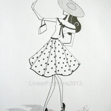 Fashion illustration 1950s polka dot skirt original pencil drawing gift