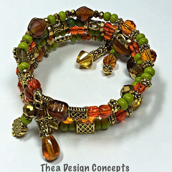 Green & Orange Seed Bead Bracelet - Beaded Memory Wire Bracelet -Citrine Color- Boho Gypy - Green Beaded Bangle- Wrap Around TDC413