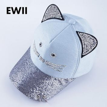 5989f17541bce Girl brand baseball cap with rings women snapback hip hop hat gorras mujer girl  rhinestone caps
