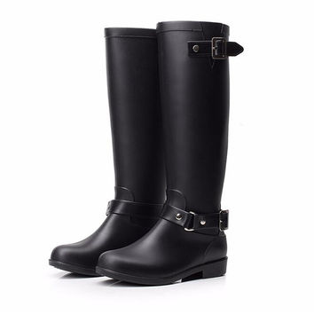 fashion women red zipper rain boots punk style knee-high martin boots PU leather motorcycle boots for women buckle water boots