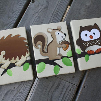 Set of 3 Woodland forest Friends Bedroom Baby Nursery Art on Stretched CANVAS 3CS012