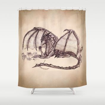 Material Girl ~ Dragon Shower Curtain by River Dragon Art | Society6