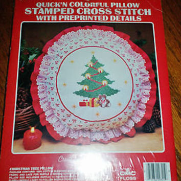 MIP Vogart Crafts Christmas Tree Pillow Stamped Cross Stitch Kit No. 2972A L@@K!